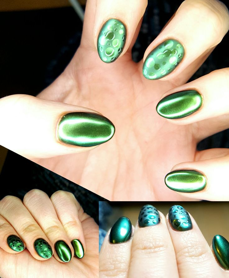 Chrome green nails with 3d rain drops effect