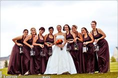 Bridesmaids with lanterns- unique, pretty (especially for a winter wedding), and probably cheaper than flowers