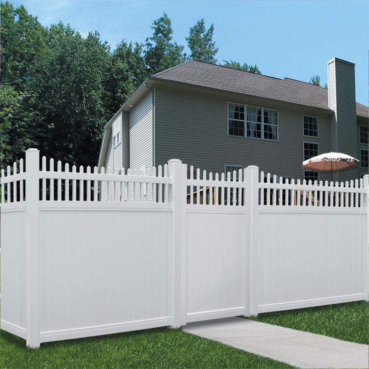 shop barrette select 6ft x 6ft white scalloped picket vinyl fence panel