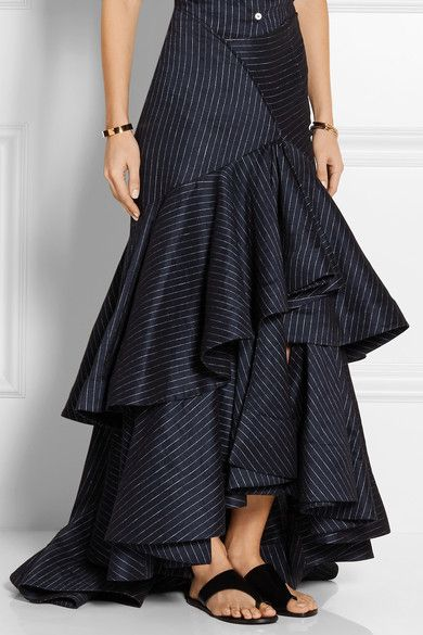 ROSIE ASSOULIN Bidi Bidi Bom Bom pinstriped stretch linen-blend maxi skirt
