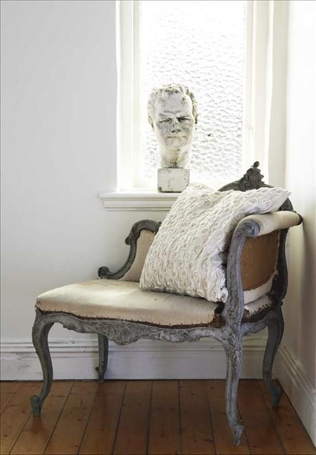 Antique daybed with Eve's own rose pillow. The bust in the window is a Czech. <3 this!