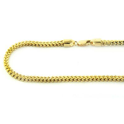 We are proud to present this exclusive 14K solid yellow or white gold Franco chain with a lobster claw lock. This solid gold FRANCO is a squared off chain and weaved together for a luxurious look. It takes the top of the line craftsman to make this men's gold chain, where each individual facet is welded in a perfect fit for excellent movement and flexibility. This solid gold Franco chain will not kink and you can even roll it around your finger! It is a polished type chain, yet it catches…