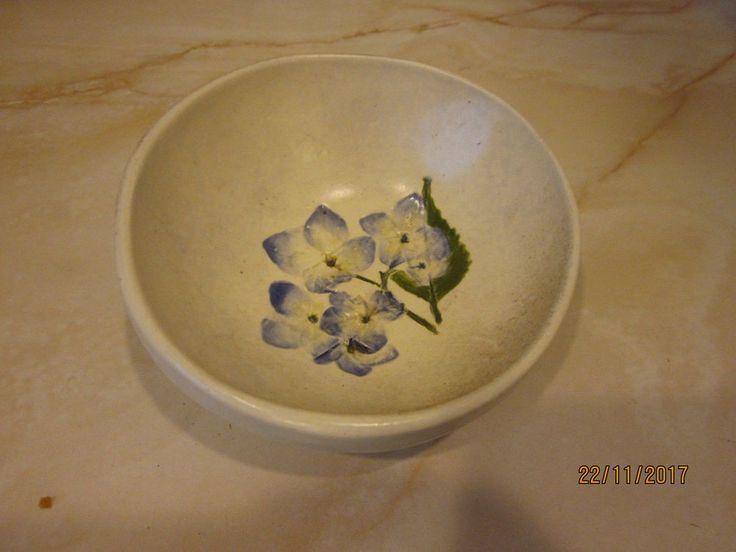 Hydrangea pattern small  wall hanging bowl shaped Salt Marsh Pottery Dartmouth