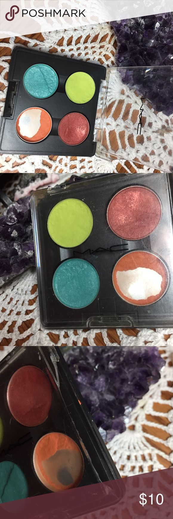 Mac Cosmetics quad Definitely well loved but no longer used due to Mac not being cruelty free. Damage to palette is shown as well as colours. Everything has been fully sanitized. Bundle and save 20% MAC Cosmetics Makeup Eyeshadow
