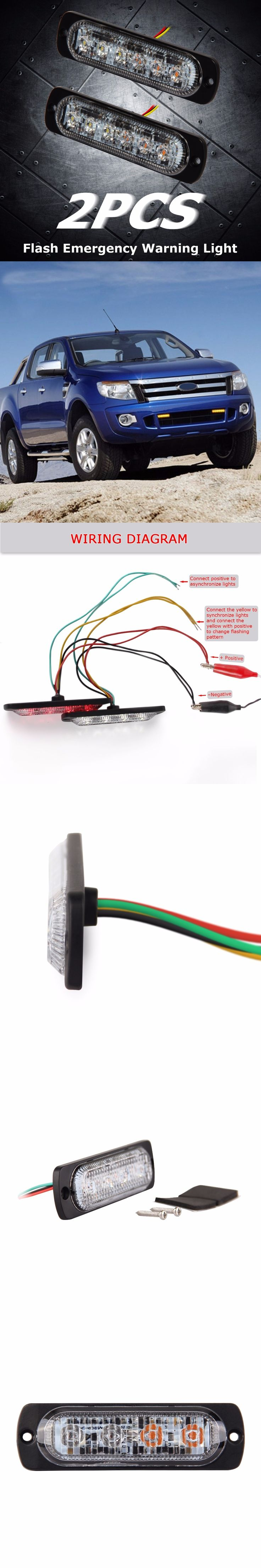 2PC Super Bright Red&Amber 4-LED Car Truck Van Side Strobe Light Warning Flasher Emergency 19 Flash Modes by FOXSTAR