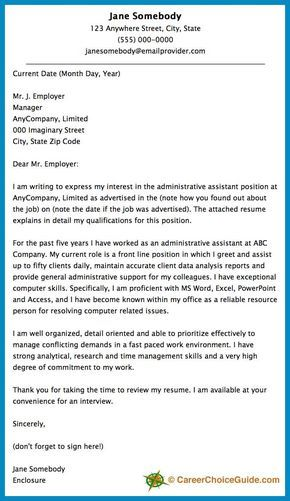 Here is a cover letter sample to give you some ideas and inspiration for writing your own cover letter.