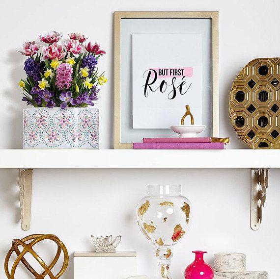 but first rosé printable art kitchen wall decor girly wall art