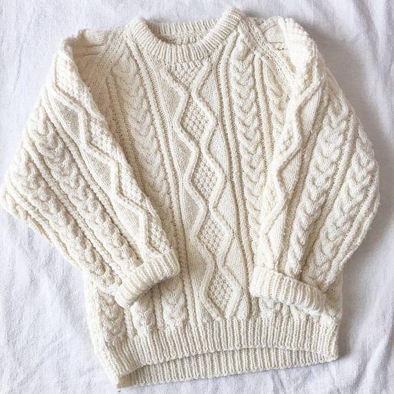 Vintage Kids Fisherman Knit Sweater // Youth Large 8/9/10 //