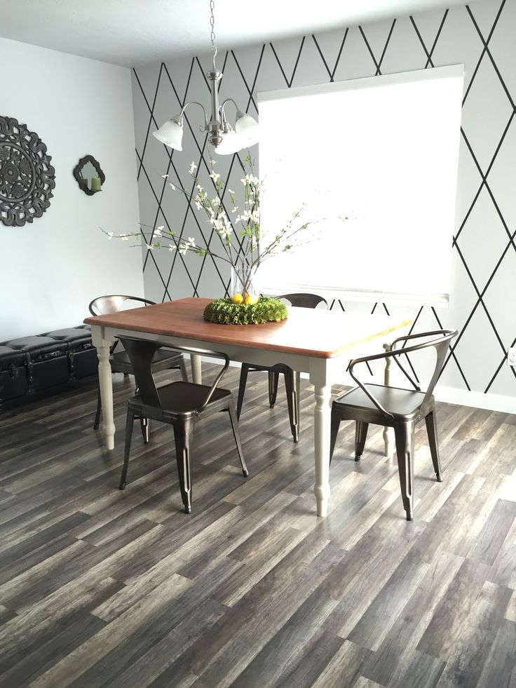 """Farm house style kitchen with perfect accent wall. Criss cross pattern wall. Kitchen wall decor. Black, grays, green and yellow hints. Perfect for a """"clean"""" feel in your kitchen. Diy table and metal chairs."""