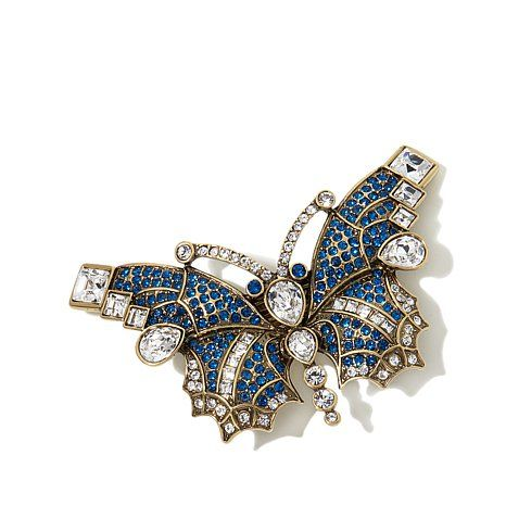 "Heidi Daus ""Butterfly Kiss"" Crystal Barrette SHOP HSN 2015 THE CINDERELLA COLLECTION"
