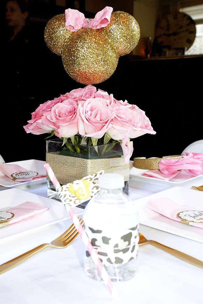 Pink and gold Minnie Mouse birthday party! See more party ideas at CatchMyParty.com!