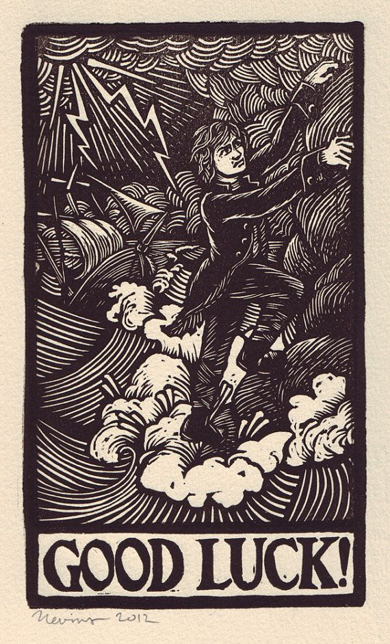 GOOD LUCK -  A linocut print in black on Arches cream paper.