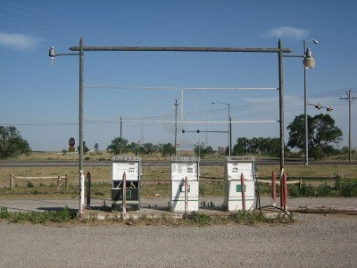 An old disused petrol station on a deserted Oklahoma highway