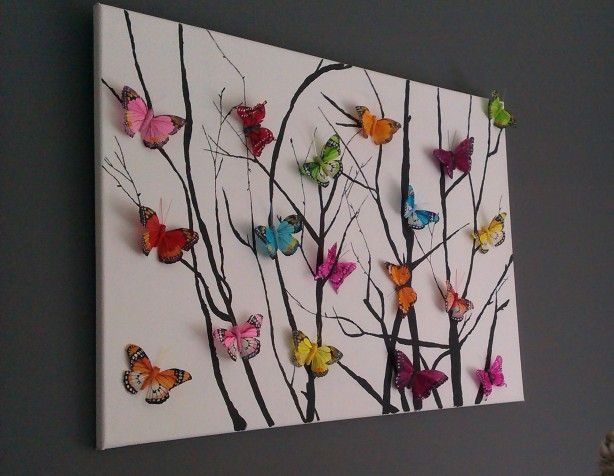 homemade painting on canvas. I would swap the butterflies for birds! (from any craft store)
