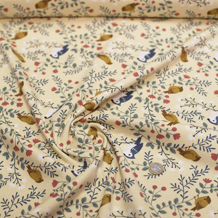 Birch fabrics cotton knit Acorn trail Bird branches