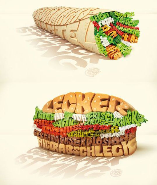 I like how the words are color coated and shaped exactly to look like a hamburger and a burrito.  Even though the only word i can make out is finger i think the design is very well constructed