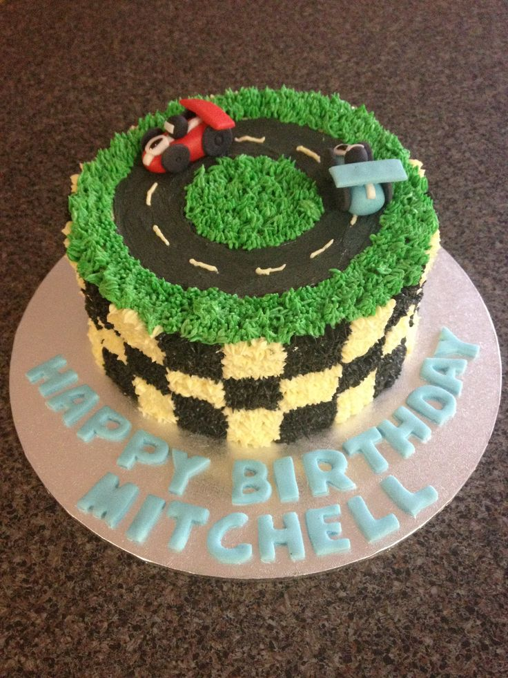 racing car cake with buttercream icing and fondant