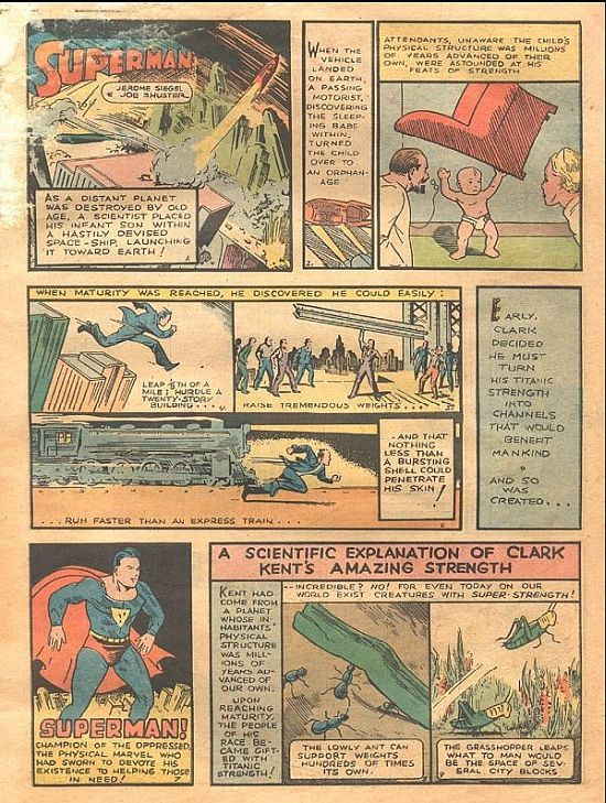 Superman Action Comics  No. 1 (1938) Page of first story.