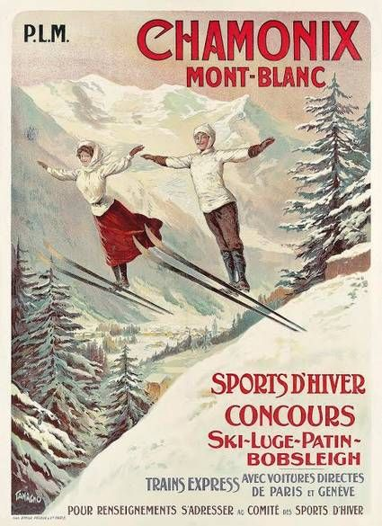 Vintage Poster circa 1900 of ski jumping woman and man  at Chamonix Mont-Blanc ski luge patin / ice skating bobsleigh. From the 22 January 2015 annual Ski sale at Christie's Auction house. http://www.christies.com/salelanding/index.aspx?intSaleID=25005