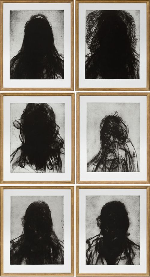 Glenn Brown, Layered Portraits (After Lucien Freud), 2008. Etching on paper. 37 x 29.6 in each