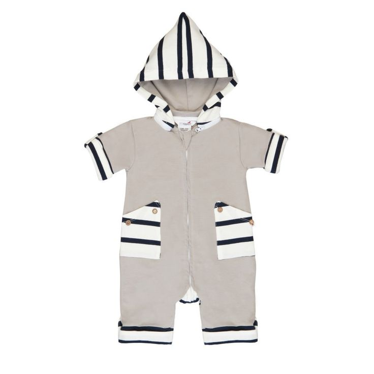 Fawn Summer Zip playsuit with detachable hoody