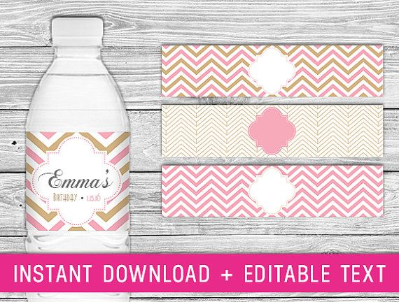 Printable Water Bottle Labels Pink Gold And Birthday Blush Wedding Chevron Baby Shower