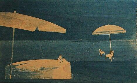 "from ""Acer Negundo"" series, 2013-cyanotype on wood (chloe obermeyer)"
