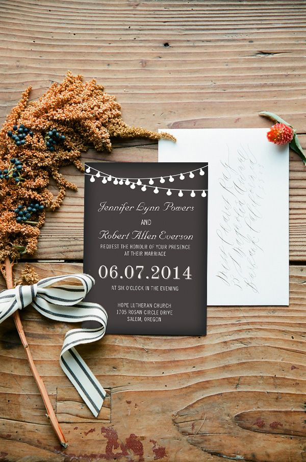 String Lights Inspired Country Rustic Chalkboard Wedding Invitations
