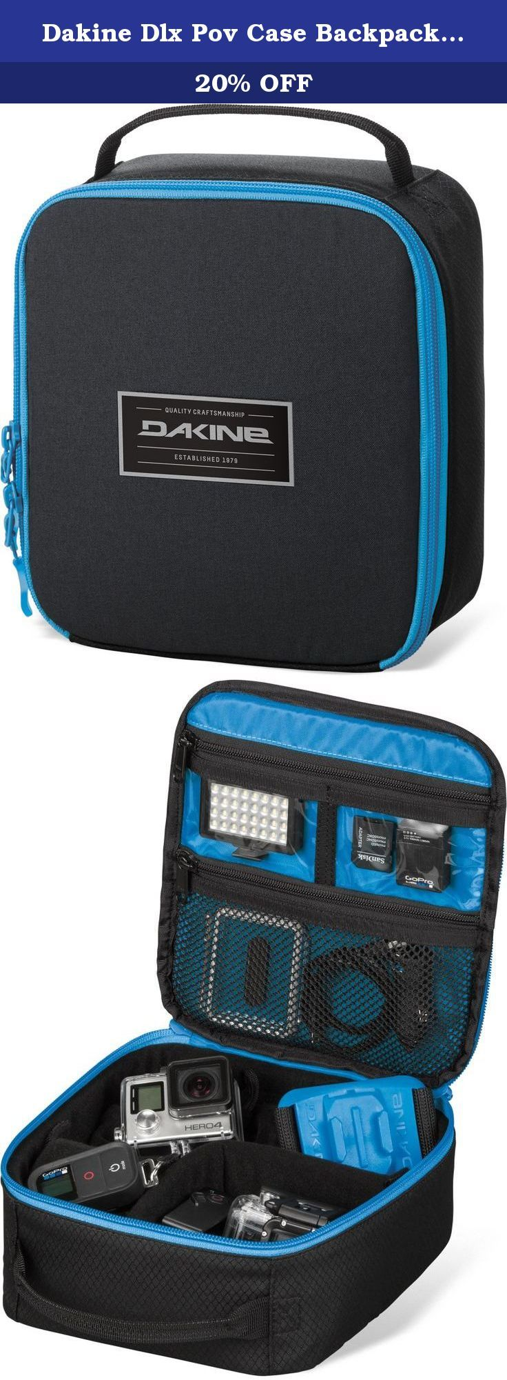 Dakine Dlx Pov Case Backpack, One Size, Tabor. Compatible with GoPro and other pov cameras, memory card pockets, removable camera bag, adjustable dividers, fleece lined.