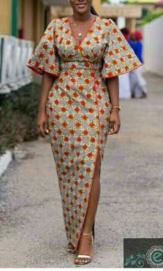 African Print Wrap Dress African Print Dress Floor by Zizibespoke