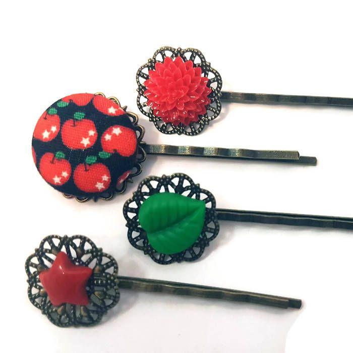 Apple Bobby Pins-Fruit Hair Pins-Leaf Hair Slides-Teacher Gift-Back to School-Red Flower Hair Clips-Apple Hair Combs-Apple Accessory-Floral