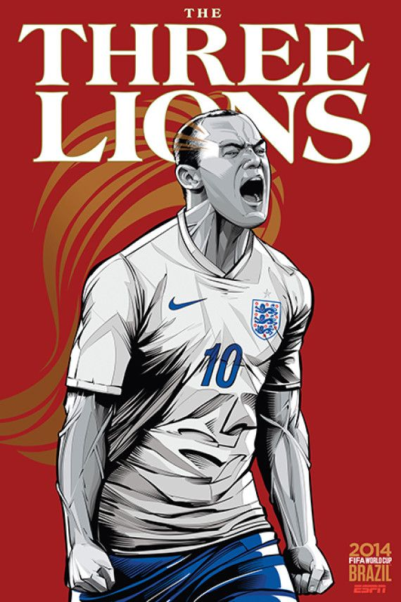 Inglaterra - England, Afiches fútbol Copa Mundial Brasil 2014 / World Cup posters by Cristiano Siqueira