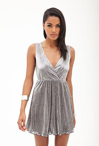 Metallic Surplice Dress   FOREVER 21 - 2000060168