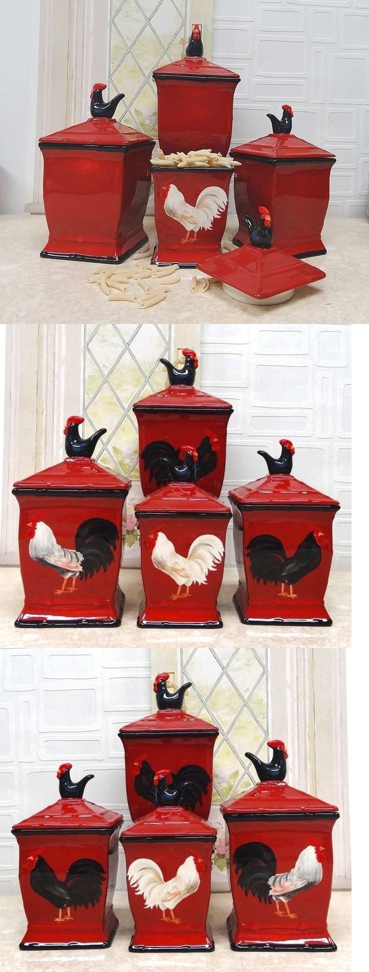 Tuscan old world drake design medium berry kitchen canisters set of 3 - Canisters And Jars 20654 Canister Set Sets Kitchen Sugar Flour Coffee Red Rooster Cookie Jar