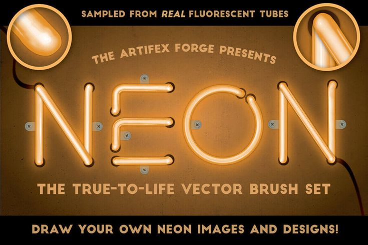 28 Realistic Neon Vector Illustrator Brushes from Artifex Forge  - only $7!