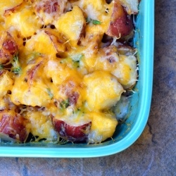 Ranch Potato Cubes •10 to 12 red potatoes, cubed •1 cup sour cream •1 cup cheddar cheese, shredded •1/4 cup butter, cubed •1 envelope ranch salad dressing mix •1 tablespoon fresh parsley, chopped