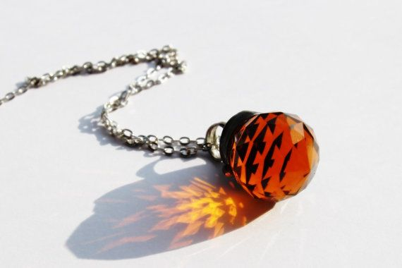 faceted crystal summer pendant amber sphere by CreativeStudioML