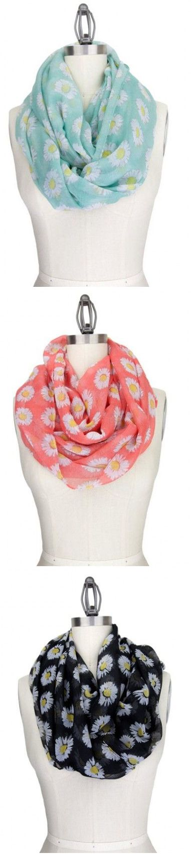 Pushing Daisies Sheer Infinity Scarves in Mint, Coral, and Black - http://www.pinterest.com/happysolez/pins/