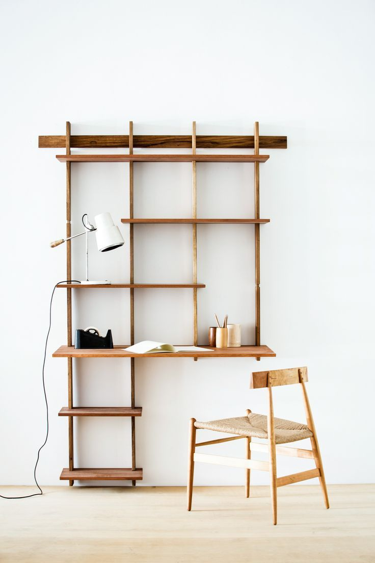 Gorgeous wall mounted shelves and desk