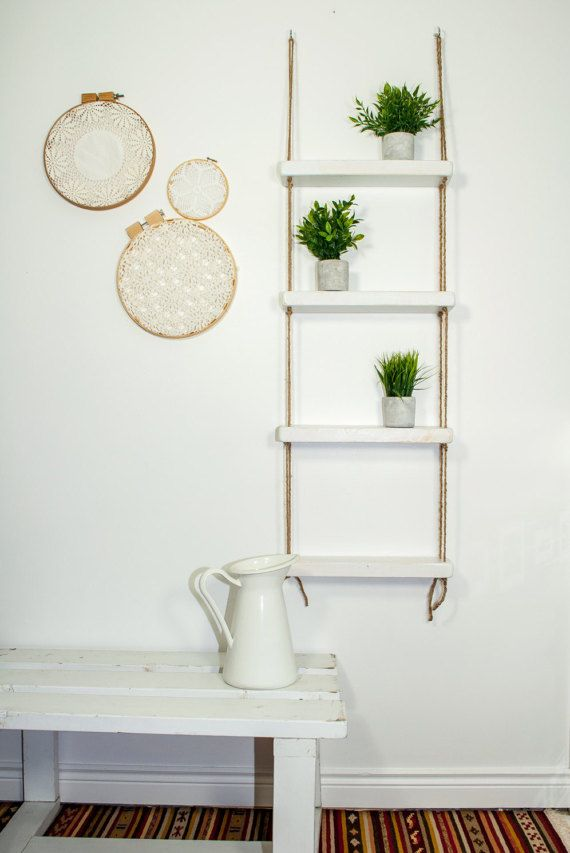 This shelf can be incorporated easily into any space like your kitchen, living room, bedroom or bathroom. It will add a beautiful focal point that can display those extra special items that truly make a house a home. Distance between each shelf 10.5 Full Length when hanging 55.5 Width 17.5 Depth 4.5  The shelf is easily hung with decorative hooks from a wall or ceiling. It can be compacted and re-hung in any space you wish to adventure too. This item was inspired by my very small bathroom…