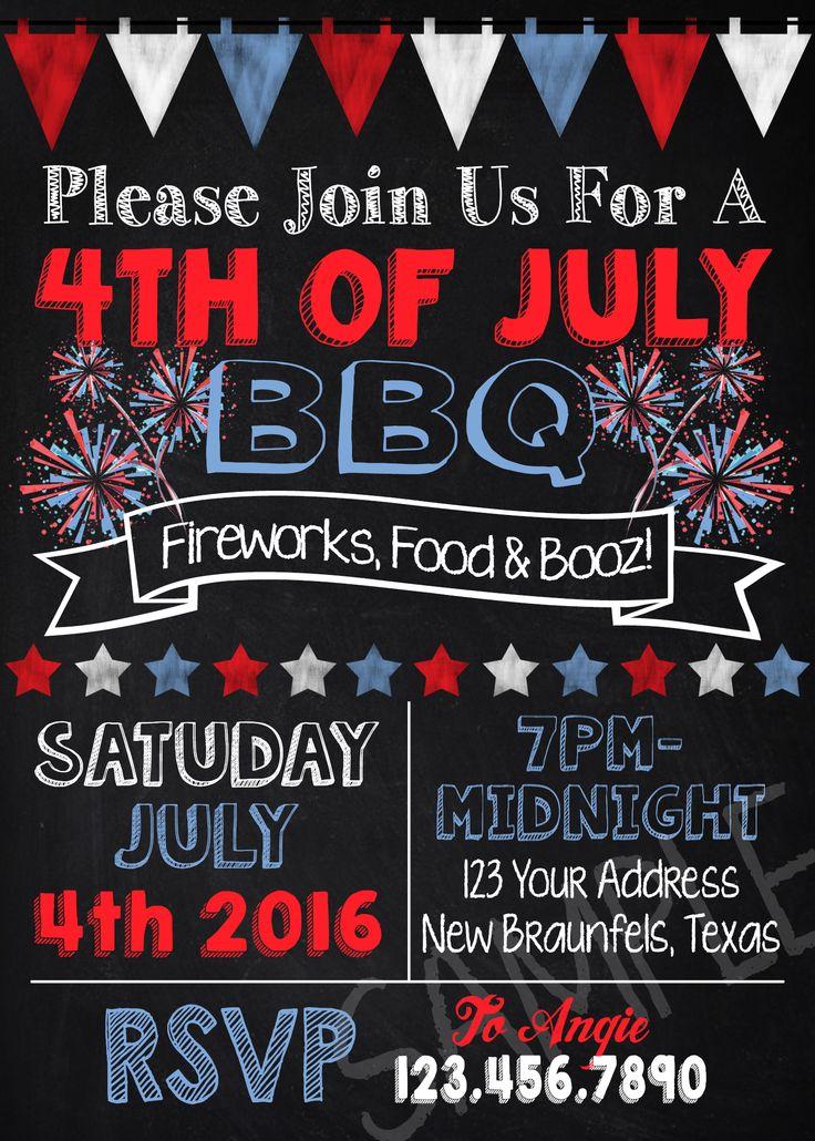 4th of July Invitation 4x6 5x7