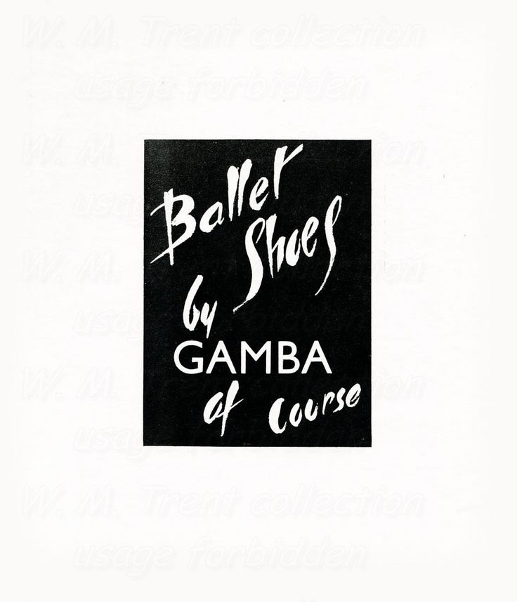 From London in 1950 an advertisement for ballet shoes by Gamba.