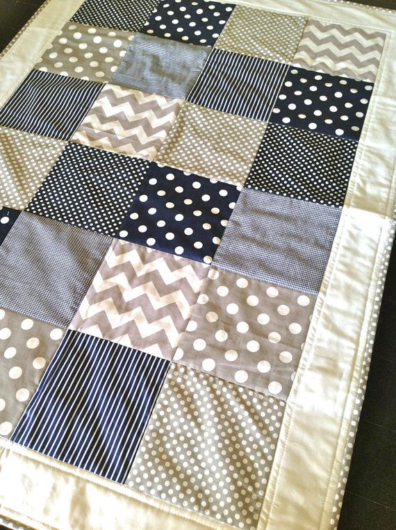 Baby Boy Crib Quilt  in modern navy and grey by AlphabetMonkey