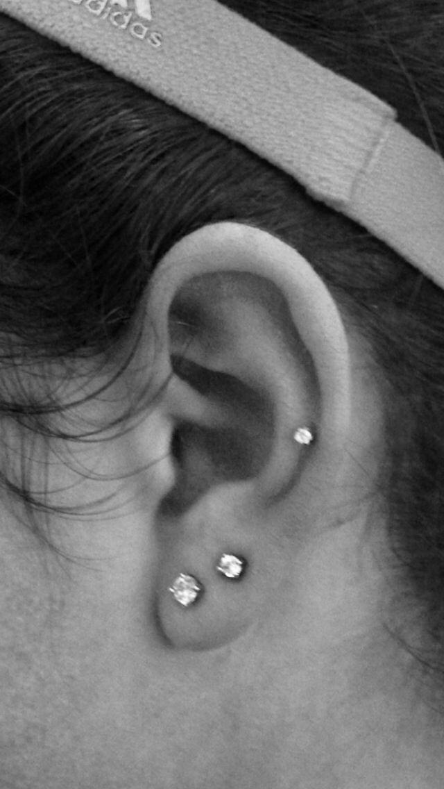 Mid-cartilage piercing with doubles [pinterest.com/rachelann1092]