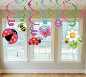 Garden Party Garden Girl Hanging Swirls for a Girls Birthday Party