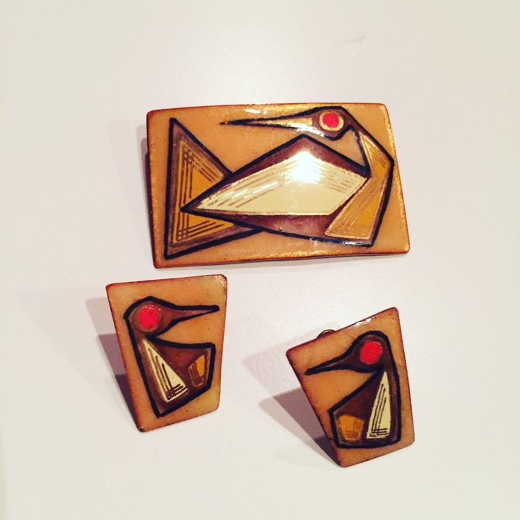 A personal favorite from my Etsy shop https://www.etsy.com/ca/listing/500584961/enamelled-copper-brooch-earrings-set