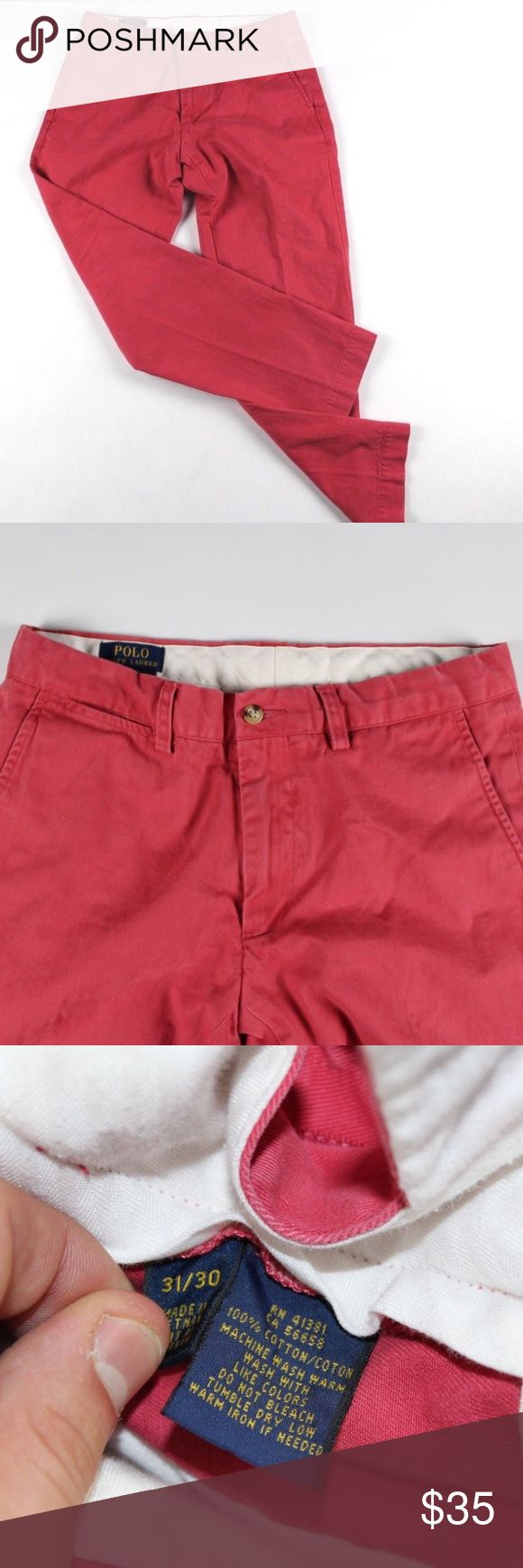 Polo by Ralph Lauren Slim Fit Chino Dress Pants Polo by Ralph Lauren Slim Fit Chinos  Excellent pants for a day out  Comes from a smoke-free household  The size is 31x30  Reddish Pink  Cotton  Check out my other items for sale!  J93 Polo by Ralph Lauren Pants Chinos & Khakis