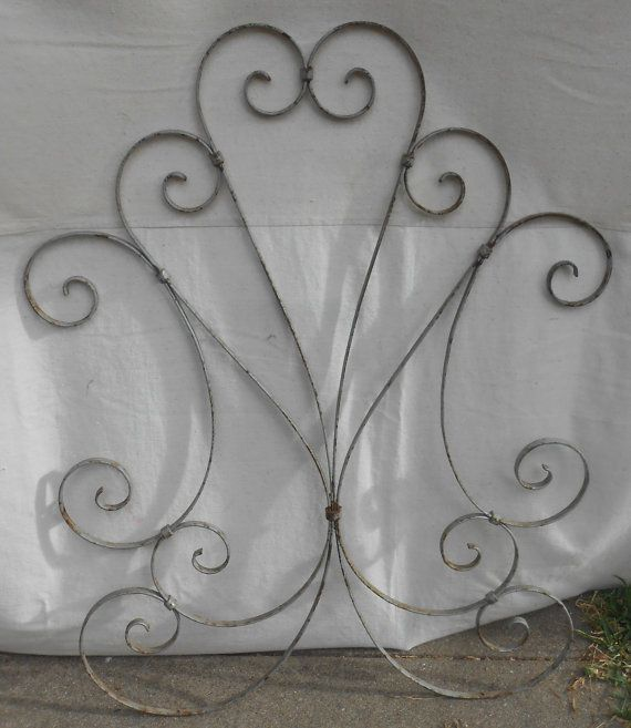 Vintage Wrought Iron Screen Door Protector Decorative Metal Grille Chippy Paint