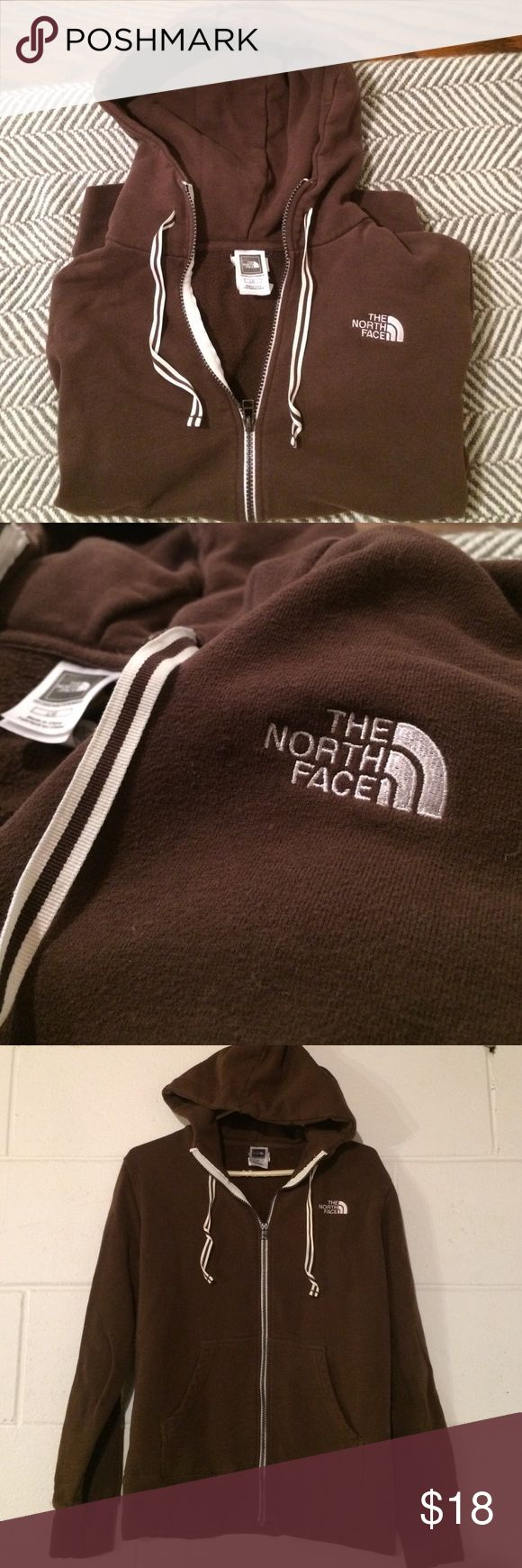 North Face Zip-up Hoodie Sweatshirt. Like new!! Brown zip up North Face Hoodie. It's in excellent condition. Has pouch in front for hands. Zipper works great. Super cute women's hoodie! The North Face Tops Sweatshirts & Hoodies