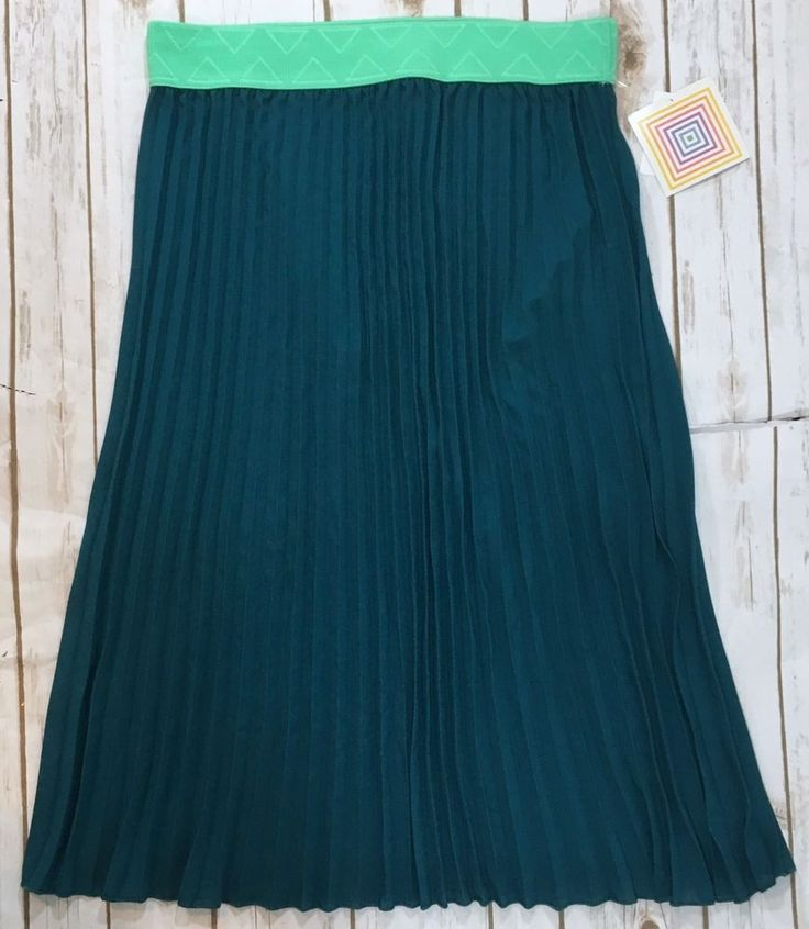 NWT LulaRoe Jill Skirt Teal Blue/Mint Green Pleated Womens Size XL Spring NEW  | eBay